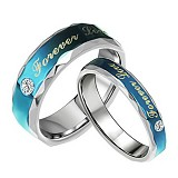 TITANIUM RING Cincin Couple Size 7(F) & 8(M) [GS251] - Blue & Blue - Cincin